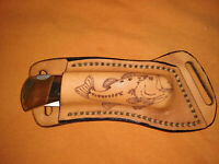 Leather knife sheath Natural oil rustic. fits a Buck 110 Custom Laser engraved