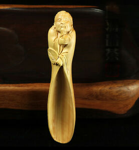 LS011ca: Pretty Carved 15 cm Long Boxwood Carving - Tea Scoop or Coffee Spoon