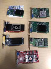 ** Lot of 7 PC Video Graphics Cards AGP PCI PCI-e ATI nVidia