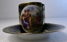 Antique Royal Veinna Porcelain Royal Blue Gold Rubenesque Woman Tea Cup Saucer