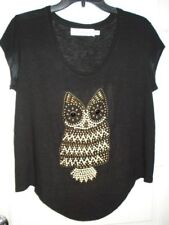 T Bags Los Angeles Anthropologie Womens Top Blouse Black Knit Owl Size PS