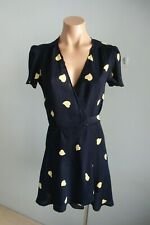 Reformation Short Sleeve V neck Lemon Hearts Navy Wrap Dress sz S