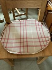 6 x Handmade Laura Ashley Red Beige Check Cranberry Dining Chair Seat Cushions