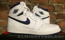 Nike Air Jordan 1 Retro High OG BG UK6 EUR39 White Navy 575441 106 Basketball