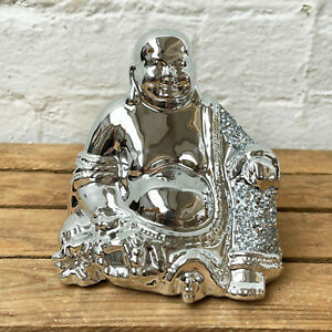Ceramic Silver Jolly Buddha Sparkle Diamante Bling Sculpture Ornament Gift Art