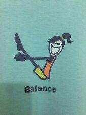 "LIFE IS GOOD WOMENS  BLUE ""Balance""  L Short Sleeve Cotton T-Shirts"