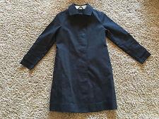 GAP Womens Sz Small Jacket Long Trench Coat Hidden Buttons Black 100% Cotton