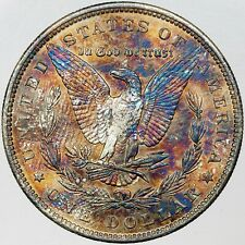 1890-P MORGAN SILVER DOLLAR UNC BU SELECT VIBRANT COLORED MULTI TONED (MR)