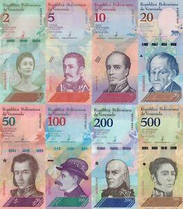 Venezuela 8 Note Set: 2 to 500 Bolívares Soberanos (2018) - p101-107b UNC