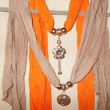 Set of 2- Orange & Taupe Oblong Scarves w Jewelry Detail