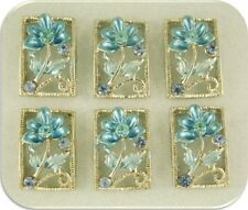 2 Hole Beads Flowers BLUE with Sapphire Swarovski Crystal Elements Sliders QTY 6