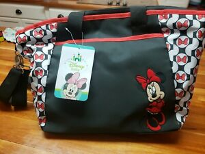 Disney Baby Minnie Mouse Diaper Bag Tote Black Red w Bottle Holder Changing Pad