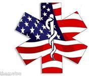 """4"""" STAR OF LIFE EMT USA FLAG CADUCEUS TOOLBOX HELMET USA MADE STICKER DECAL"""