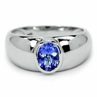 Natural Tanzanite Men's Ring in Solid 925 Sterling Silver Men's Oval Gem Jewelry