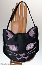 Purse Kitty Cat Black & Pink Satin Beaded Rhinestone Cat Head Novelty Purse
