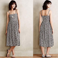 Anthropologie Corey Lynn Calter Sketchbook Midi Dress Sundress Small Brown White