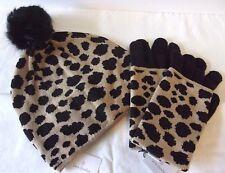 Vera Bradley Cozy Knit Hat and Tech Gloves in Leopard