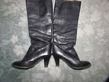 Black Leather Knee High Boots Size 6.5 By Russell & Bromley