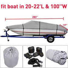 New 20-22 Ft Waterproof Heavy Duty Fabric Trailerable V shape Boat Cover Gray