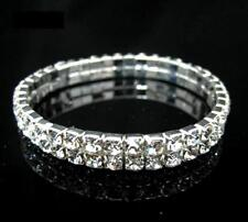 Crystal Clear Rhinestone Bracelet Bridal 2 Double Row Stretch Elastic Jewelry