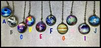 Handcrafted Jupiter Sky Earth Galaxy Universe Space Theme Antique Gold Fan Pull