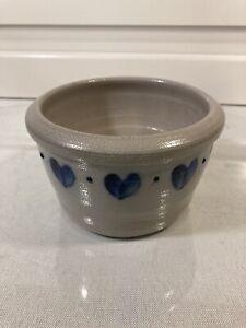 eldreth pottery crock Blue Salt Glaze Hearts Small Planter