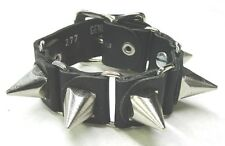 Black Leather Bracelet with Pyramid Shaped Spikes and Buckle Punk Goth EMO New