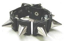 Black Leather Bracelet Pyramid Spikes Buckle Punk Goth Biker EMO New USA Made