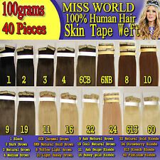"""20"""" skin tape weft 100% remy human hair extension 100gs 40ps black brown blonde"""