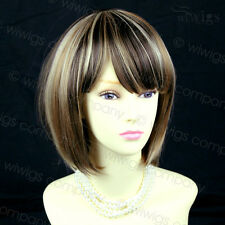 New Beautiful Short Bob Chestnut Brown Mix Blonde Ladies Wig From WIWIGS UK