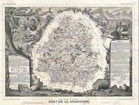 GEOGRAPHY MAP ILLUSTRATED ANTIQUE LEVASSEUR DORDOGNE POSTER ART PRINT BB4371B