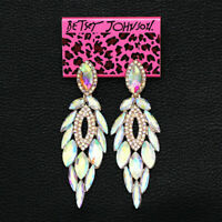 Betsey Johnson Earring Women's Colorful AB Crystal Feather Dangle Stud Earrings