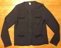 J. Crew Women's Gray & Black Long Sleeve Wool Cardigan Snap Sweater Size: Medium