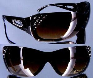 Damen Strass Brilllen Sonnenbrille schwarz  UV400 geschützt mit Schutzpass 10111