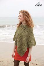 Irish Aran 100% Merino Wool Aran Ladies Poncho Cape A200 439 Moss Green
