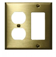 Switchplate Brushed Solid Brass Outlet Gfi   Renovator's Supply