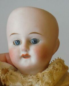 """Antique German All Bisque Miniature Small 7"""" Doll Fixed Blue Glass Eyes P1561"""
