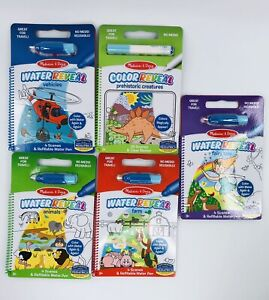Melissa & Doug Water-Reveal Reusable Color With Water Travel Activity Books (5)