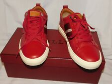 BALLY RED LEATHER SNEAKERS SIZE 8D