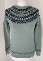 Fat Face Cotton Wool Mohair Sea Green Jumper Sweater UK6 Fairisle Nordic