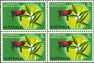 1968 Australian International Grassland Congress Block of 4x 5c MUH Stamp issues