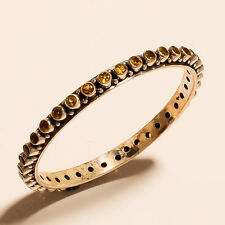 925 Sterling Silver Bangle Bracelet Citrine Gemstone Women Fashion Jewelry Gifts