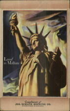 Beer Breweriana Schlitz Statue of Liberty Art Deco Advertising Postcard