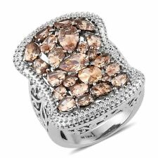 DIAMOND CHAMPAGNE SIMULATED DIAMOND STEEL HYPOALLERGENIC STATEMENT RING 5