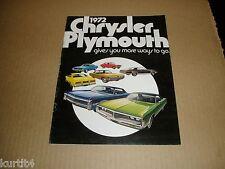 1972 Chrysler Plymouth Full Line Barracuda Satellite Duster Fury sales brochure