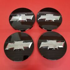 """4X 2007-2013 Chevrolet 3.25"""" BLACK Center Caps For 18"""" 20"""" 22"""" Wheels #9596403"""