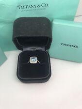 AUTHENTIC TIFFANY & CO LEGACY AQUAMARINE DIAMOND RING PLATINUM 2.02 ctw F VS1