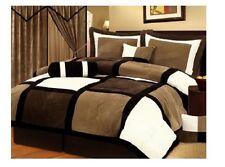 Queen Size Comforter Set Brown Chocolate Micro Suede 7 Piece Bedding Bedroom