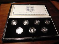 1983-1989 United Kingdom 7 POUND SILVER PROOF PIEDFORT  RARE ROYAL MINT SET(500)