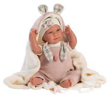 Susis-Baby Luna Rosa, 42 cm Babypuppe, Stoffkörper, Stimme von Munecas Llorens